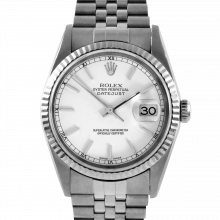 Pre-owned Rolex Stainless Steel Men's Datejust Watch - White Stick Dial with Fluted Bezel On A Jubilee Band 16234 Model