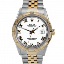Pre-owned Rolex Mens Datejust Watch - Two Tone White Roman Dial & Thunderbird Bezel On A Jubilee Band 16263 Model
