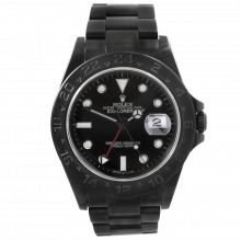 Pre-owned Rolex Mens Explorer II Stainless Steel Watch - With Black DLC/PVD Coating - Black Dial 16570 1990s Model