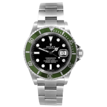Pre-owned Rolex Mens Submariner Watch - Stainless Steel Black Dial & Green Bezel 16610V Anniversary Edition