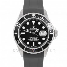 Rolex Submariner Date 16610 LN 40mm Stainless Steel, Black Dial & Directional Bezel on Rubber Strap - Pre-Owned Watch