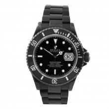 Pre-owned Rolex Mens Submariner Stainless Steel Watch - With Black DLC/PVD Coating - Black Dial 16610 90S Model