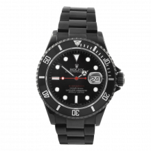 Pre-owned Rolex Mens Submariner Stainless Steel Watch - With Black DLC/PVD Coating - Red Accented Black Dial 16610 90S Model