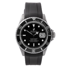 Rolex Mens Submariner Watch - Stainless Steel Black Dial & Bezel on Swiss Made Rubber Sport Strap - Pre-Owned