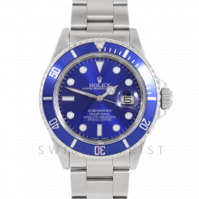 Rolex Submariner Date 16610 40mm Stainless Steel, Custom Blue Dial & Custom Blue Directional Bezel on Oyster Bracelet - Pre-Owned 90's Model Watch