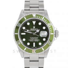 Rolex Submariner Date 16610 40mm Stainless Steel, Custom Green Dial & Custom Green Directional Bezel on Oyster Bracelet - Pre-Owned 90s Model Watch