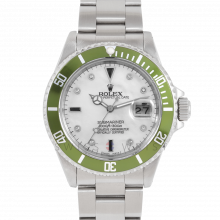 Rolex Submariner Date 16610 Stainless Steel, Custom MOP Diamond Serti & Custom Green Directional Bezel on Oyster Bracelet - Pre-Owned 90's Model Watch