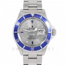 Rolex Submariner Date 16610 Stainless Steel, Custom Silver Diamond Serti & Custom Blue Directional Bezel on Oyster Band - Pre-Owned 90's Model Watch