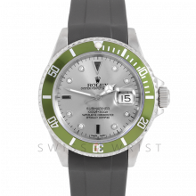 Rolex Submariner Date 16610 Stainless Steel, Custom Silver Diamond Serti & Custom Green Directional Bezel on Rubber Strap - Pre-Owned 90's Model Watch