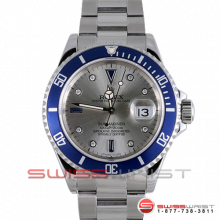 Rolex Submariner Stainless Steel Custom Silver Sapphire Serti Dial & Blue Bezel 16610 1990s Model