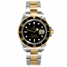 """Pre-owned Rolex Mens Submariner Watch - Two Tone Black Dial & Bezel 16613 """"No Holes"""" Case Model"""