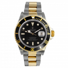 Pre-owned Rolex Mens Submariner Watch - Two Tone Black Dial & Bezel 16613 1990s Model