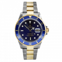 Pre-owned Rolex Mens Submariner Watch - Two Tone Blue Dial & Engraved Bezel 16613 Late 2000s Model