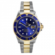 Pre-owned Rolex Mens Submariner Watch - Two Tone Blue Dial And Bezel 2000's Model 16613