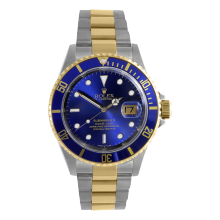 Pre-owned Rolex Mens Submariner Watch - Two Tone Blue Dial & Bezel 16613 1990s Model