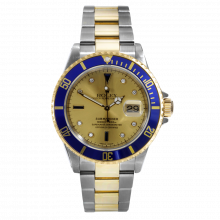 Pre-owned Rolex Mens Submariner Watch - Two Tone Champagne Sapphire Serti Dial 16613 Early 2000's Model