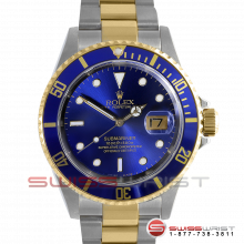 Pre-owned Rolex Submariner Two Tone Watch - Blue Dial & Bezel 16613 No Holes Case Model