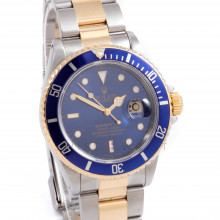Rolex LB Submariner 40mm 16613 Yellow Gold & Stainless Steel, Blue Dial w/ an Oyster Bracelet - Box & Papers