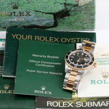 Rolex Submariner 40 mm 16613 LN Yellow Gold & Stainless Steel, Black Dial on an Oyster Bracelet w/ Box & Paper Pre-Owned Watch N-Serial 1991 Model