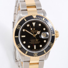 Rolex Submariner 40 mm 16613 LN Yellow Gold & Stainless Steel, Black Dial on an Oyster Bracelet - Pre-Owned Watch P-Serial 2000 Model