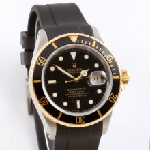 Rolex Submariner 40 mm 16613 LN Stainless Steel, Black Dial & Directional Bezel on a Rubber Strap - Men's Pre-Owned Watch