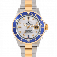 Rolex Submariner Date 16613 Yellow Gold & Steel w/ Custom Mother of Pearl Dial & Blue Bezel - Pre-Owned 2Tone Sports 90s