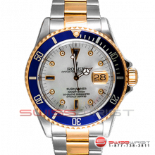 Rolex Submariner Two Tone Custom Mop Sapphire Serti Dial & Blue Bezel 16613 2000s Model