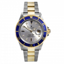 Pre-owned Rolex Mens Submariner Watch - Two Tone Slate Sapphire Serti Dial & Blue Bezel 16613 Gold Through Buckle Model