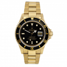 Pre-owned Rolex Mens Submariner Watch - Yellow Gold 18K Black Dial - Bezel Display Model 16618 No Holes Case