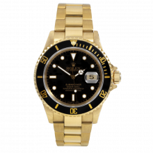 Pre-owned Rolex Mens Submariner Watch - 18k Yellow Gold Black Dial & Bezel - 1990's model - 16618 Model