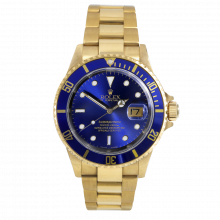 Pre-owned Rolex Mens Submariner Watch - Yellow Gold 18K Blue Dial - Bezel 16618 No Holes Case