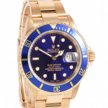 Rolex Submariner Date 40mm 16618 18K Yellow Gold, Blue Dial w/ Oyster Bracelet - Pre-Owned