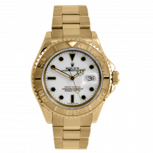 Pre-owned Rolex Men's Yacht-Master Watch - 18K Yellow Gold Full Size With A White Dial 40MM 16628