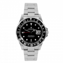 Pre-owned Rolex Mens GMT Master II Watch - Stainless Steel Black Dial & Bezel 16710 2000s Model