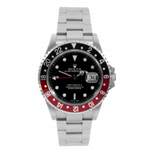 "Pre-owned Rolex Mens GMT Master II Watch - Stainless Steel Black Dial & Coke Bezel 16710 ""No Holes"" Case Model"