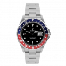 "Pre-owned Rolex Mens GMT Master II Watch - Stainless Steel Black Dial & Pepsi Bezel 16710 ""No Holes"" Case Model"