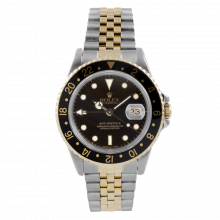Pre-owned Original Rolex Mens 18K/SS GMT-Master II Watch - Black Dial/Black Bezel - Jubilee Band - 16713