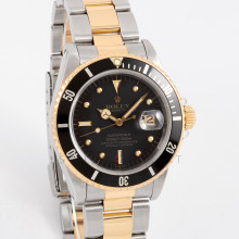 Rolex Submariner Date 16803 40mm Yellow Gold & Stainless Steel, Black Dial on an Oyster Bracelet - Pre-Owned Two-Tone Watch