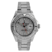 Pre-owned Rolex Midsize Yachtmaster Watch - Stainless Steel And Platinum Reference With A White Dial 35MM Model 168622