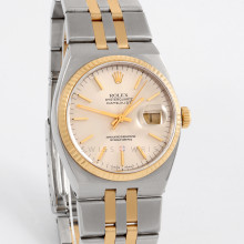 Rolex Datejust 36 mm 17013 Oyster Quartz Yellow Gold & Stainless Steel w/ Silver Stick Dial and Fluted Bezel with Quartz Bracelet - Men's Pre-Owned Watch w/ Box & Papers