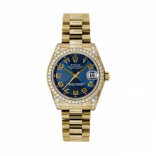 New Rolex New Style Midsize Yellow Gold President Watch - Blue Concentric Arabic Dial - Diamond Bezel/Lugs 31 MM 178158