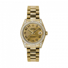 New Rolex New Style Midsize Yellow Gold President Watch - Champagne Concentric Arabic Dial - Diamond Bezel/Lugs 31 MM 178158