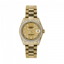 New Rolex New Style Midsize Yellow Gold President Watch - Champagne Index Dial - Diamond Bezel/Lugs 31 MM 178158
