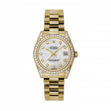 New Rolex Mens New Style Midsize Yellow Gold President Watch - Mother of Pearl Diamond Dial - Diamond Bezel/Lugs 31 MM 178158