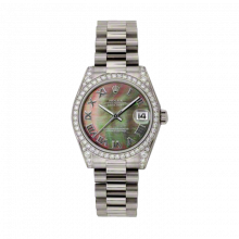 New Rolex New Style Midsize White Gold President Watch - Dark Mother of Pearl Roman Dial - Diamond Bezel/Lugs 31 MM 178159