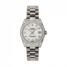 New Rolex New Style Midsize White Gold President Watch - Mother of Pearl Diamond Dial - Diamond Bezel/Lugs 31 MM 178159