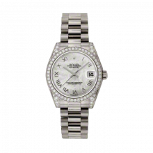 New Rolex New Style Midsize White Gold President Watch - Mother of Pearl Roman Dial - Diamond Bezel/Lugs 31 MM 178159