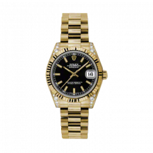 New Rolex New Style Midsize Yellow Gold President Watch - Black Index Dial - Fluted Bezel - Diamond Lugs 31 MM 178238