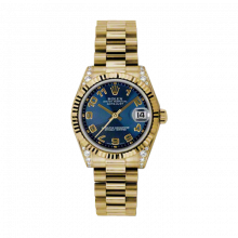 New Rolex New Style Midsize Yellow Gold President Watch - Blue Concentric Arabic Dial - Fluted Bezel - Diamond Lugs 31 MM 178238