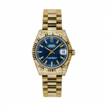 New Rolex New Style Midsize Yellow Gold President Watch - Blue Index Dial - Fluted Bezel - Diamond Lugs 31 MM 178238